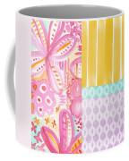 Boho Aztec Patchwork- Flower Painting Coffee Mug by Linda Woods