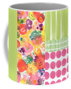 Boho Garden Patchwork- Floral Painting Coffee Mug by Linda Woods