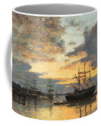 Bordeaux In The Harbor Coffee Mug by Eugene Louis Boudin
