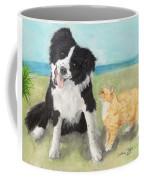 Border Collie Dog Orange Tabby Cat Art Coffee Mug