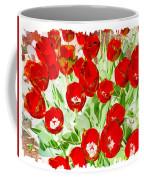 Bordered Red Tulips Coffee Mug