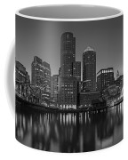 Boston Skyline Seaport District Bw Coffee Mug