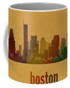 Boston Skyline Watercolor On Parchment Coffee Mug