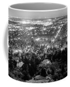 Boulder Colorado City Lights Panorama  Black And White Coffee Mug