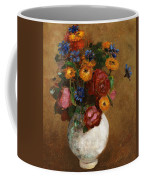 Bouquet Of Flowers In A White Vase Coffee Mug