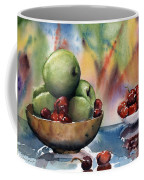 Apples In A Wooden Bowl With Cherries On The Side Coffee Mug
