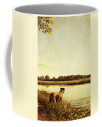 Boxer Dog By The Pond At Sunset Coffee Mug by Stephanie McDowell