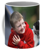 Boy, Age 6, Smiling With Jack Russell Coffee Mug