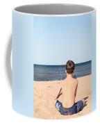 Boy At The Beach Flying A Kite Coffee Mug by Edward Fielding