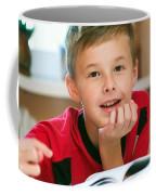 Boy Reading Book Portrait Coffee Mug
