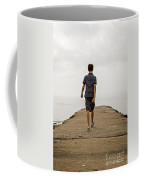 Boy Walking On Concrete Beach Pier Coffee Mug