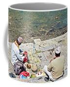Brahmans Along Bagmati River In Pasupatinath Temple Of Cremation Complex In Kathmandu-nepal  Coffee Mug