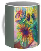 Brandy's Sunflowers - Still Life On Windowsill Coffee Mug by Talya Johnson