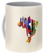 Brazil Typographic Watercolor Map Coffee Mug