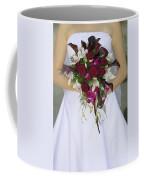 Brides Bouquet And Wedding Dress Coffee Mug