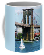 Bridge - Sailboat By The Brooklyn Bridge Coffee Mug