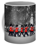 British Royal Guards March And Perform The Changing Of The Guard In Buckingham Palace Coffee Mug
