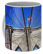 Brooklyn Bridge With American Flag Coffee Mug