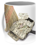 Broom Sweeping Up American Currency Coffee Mug