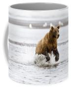 Brown Bear Chasing Salmon Coffee Mug