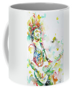 Bruce Springsteen Playing The Guitar Watercolor Portrait.2 Coffee Mug