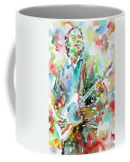 Bruce Springsteen Playing The Guitar Watercolor Portrait.3 Coffee Mug