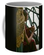 Buddhist Monk Leaning Against A Pillar Sule Pagoda Central Yangon Myanar Coffee Mug