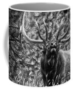 Bull Elk Bugling Black And White Coffee Mug