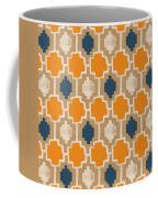 Burlap Blue And Orange Design Coffee Mug by Linda Woods