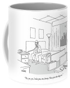 Businessman Sitting On A Bed In Hotel Room Coffee Mug