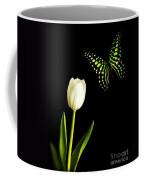 Butterfly And Tulip Coffee Mug by Edward Fielding