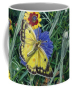Butterfly Wildflowers Spring Time Garden Floral Oil Painting Green Yellow Coffee Mug