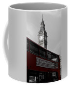 Bw Big Ben And Red London Bus Coffee Mug