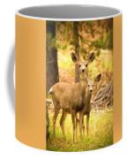 By Mama's Side - Photo Manipulation - Mule Deer - Casper Mountain - Casper Wyoming Coffee Mug
