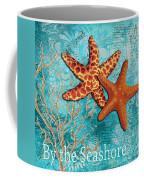 By The Sea Shore Original Coastal Painting Colorful Starfish Art By Megan Duncanson Coffee Mug
