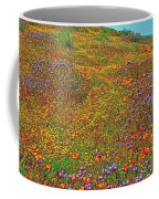 Ca Poppies And Goldfields And Lacy Phacelia In  Antelope Valley Ca Poppy Reserve-california  Coffee Mug