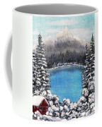 Cabin By The Lake - Winter Coffee Mug by Barbara Griffin
