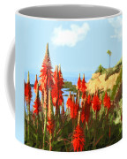 California Coastline With Red Hot Poker Plants Coffee Mug