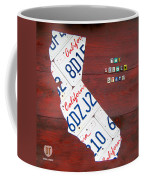 California License Plate Map Coffee Mug