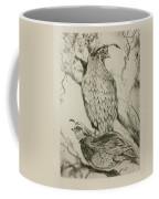 California Quails Lithograph Coffee Mug