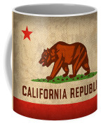 California State Flag Art On Worn Canvas Coffee Mug by Design Turnpike