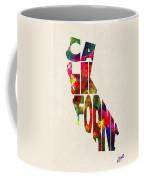 California Typographic Watercolor Map Coffee Mug