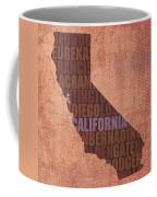 California Word Art State Map On Canvas Coffee Mug