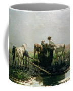 Calves At A Pond, 1863 Coffee Mug