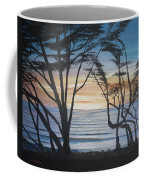 Cambria Cypress Trees At Sunset Coffee Mug