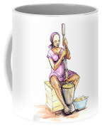 Cameroon Woman Grinding Plantain Bananas Coffee Mug