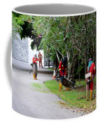Camouflaged Leaf Blowers Working In Singapore Park Coffee Mug