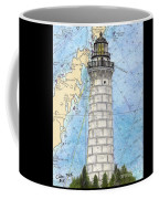 Cana Island Lighthouse Wi Nautical Chart Map Art Coffee Mug