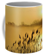 Canada Geese In Flight At Sunrise Coffee Mug