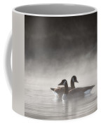 Canada Geese In The Fog Square Coffee Mug